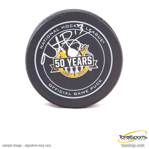 Nick Bonino Autographed Pittsburgh Penguins 50th Anniversary Game Model Puck
