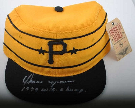 Pittsburgh Pirates Omar Moreno Autographed Yellow Throwback Baseball Hat with 1979 W.S. Champs