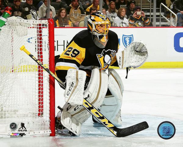 Marc-Andre Fleury in Alternate with White Pads in Goal 8x10 Photo Unsigned