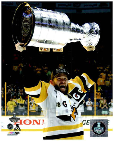 Bryan Rust Raising 2017 Stanley Cup 8x10 - Unsigned