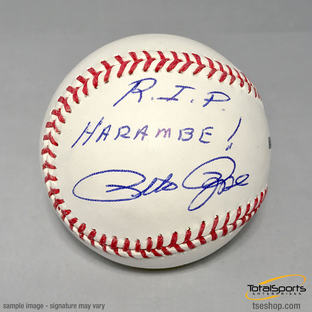 Cincinnati Reds Pete Rose Autographed MLB Baseball with RIP Harambe!