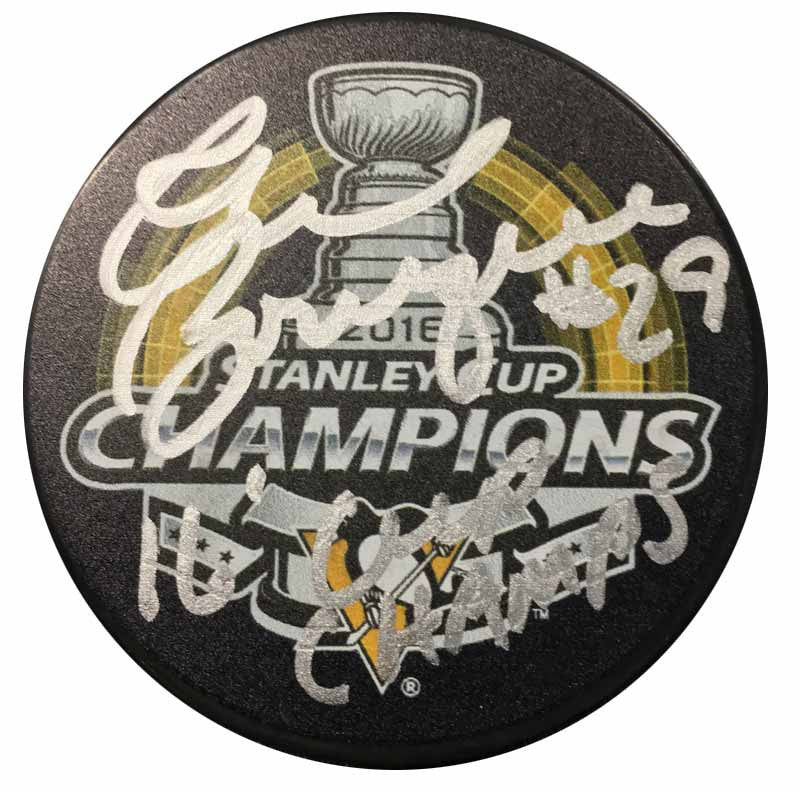 Phil Bourque Autographed Stanley Cup Logo Puck with 16 Cup Champs