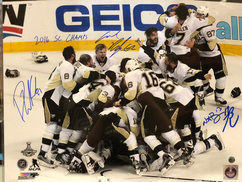 2016 Stanley Cup Team Celebration 16x20 - Signed by Rust, Bonino, Hagelin, and Kessel with 2016 SC Champs Inscription