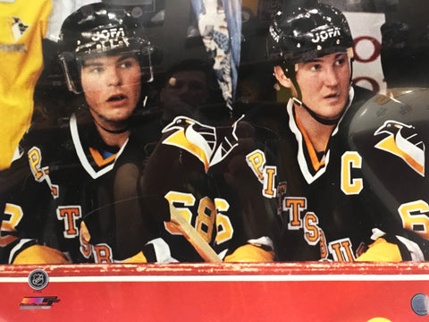 Jaromir Jagr Sitting on Bench with Mario Lemieux 16x20 Photo- UNSIGNED