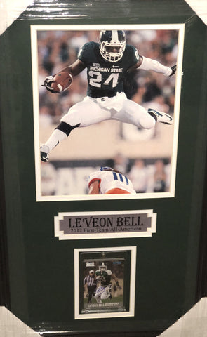 Le'Veon Bell Signed Michigan State Rookie Card with 8x10 in Green - Professionally Framed