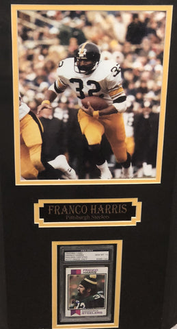 Franco Harris Signed Rookie Card with 8x10 Photo Professionally Framed