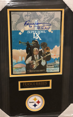 Franco Harris Signed Authentic SBIX Game Program with 'SB IX MVP' Inscription - Professionally Framed