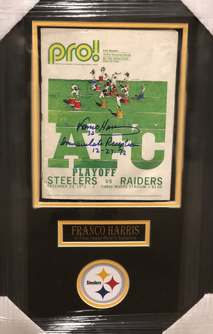 Franco Harris Signed Authentic Game Program with Immaculate Reception Inscription - Professionally Framed