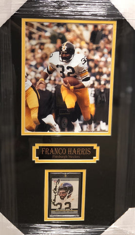 Franco Harris Signed MVP Card with 8x10 Photo Professionally Framed