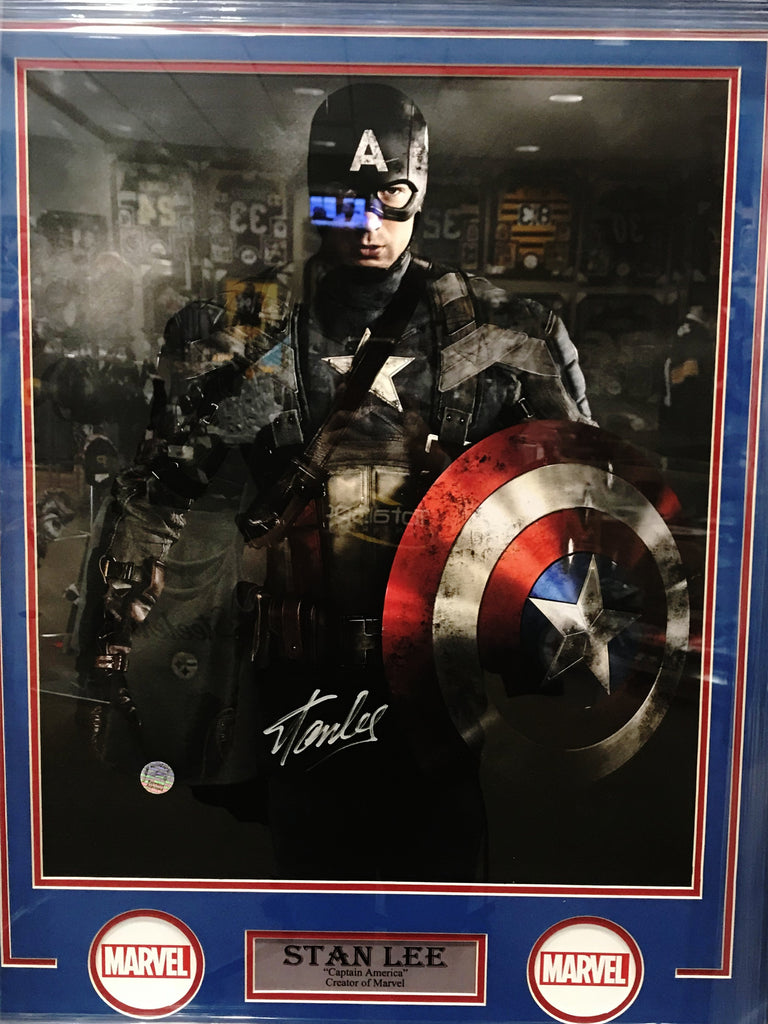 Stan Lee Signed Captain America 16x20 Standing with Shield Vertical - Professionally Framed