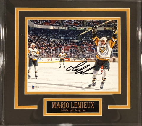 Mario Lemieiux Raising Stick in White Signed 8x10 - Professionally Framed