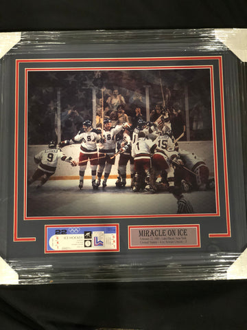 1980 US Men's Hockey Team Photo On Ice with Replica Ticket Unsigned Professionally Framed 16x20