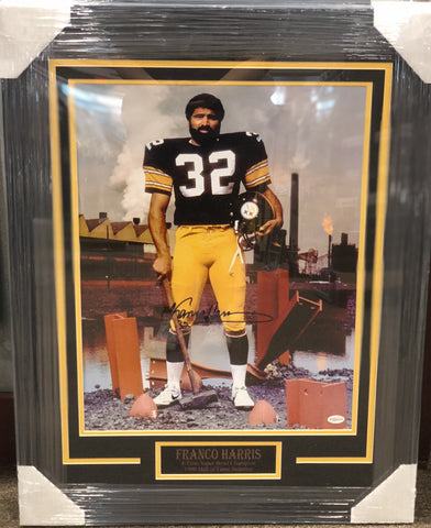 738a9a94b Franco Harris Standing Pose with Hammer Signed 16x20- Professionally Framed