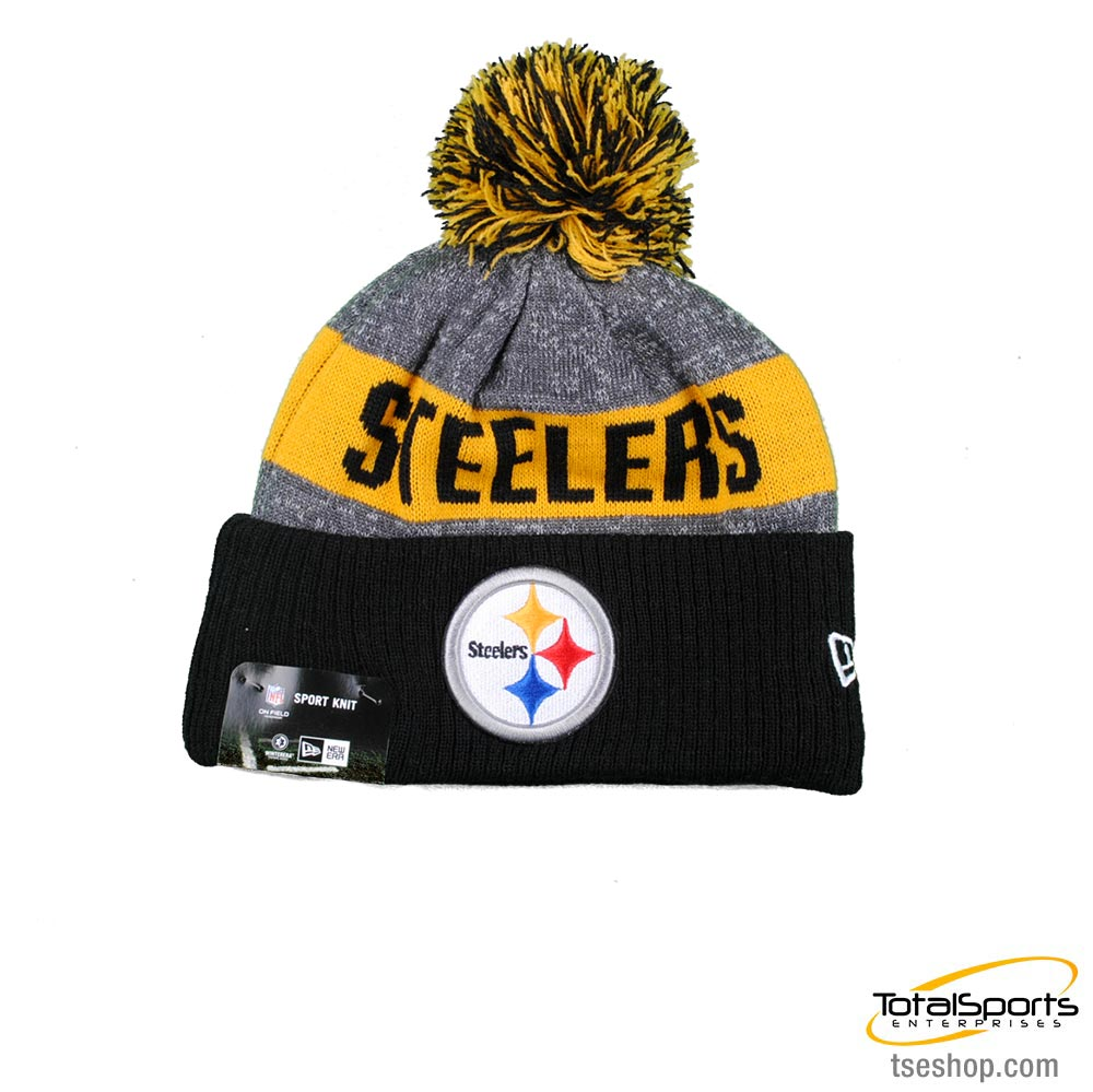 Pittsburgh Steelers New Era Heather Gray Sideline Official Sport Knit Hat