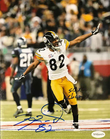 Antwaan Randle-El Autographed Running (Airplane) 16x20 Photo with SB XL Champs