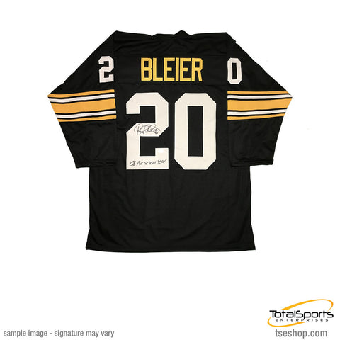 Rocky Bleier Autographed Black Custom 3/4 Sleeve Jersey with the inscription SB IX,X,XIII,XIV