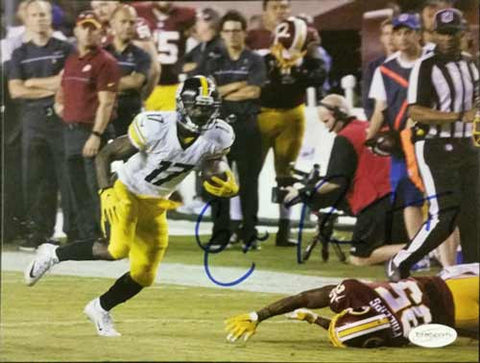 Eli Rogers Autographed Running Past Redskins 8x10 Photo