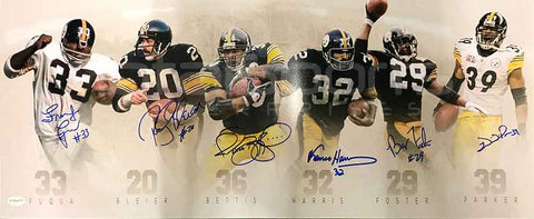 Franco Harris, Jerome Bettis, Rocky Bleier, Willie Parker, Barry Foster and Frenchy Fuqua Signed Steelers Running Back Legends Framed Panoramic Photo