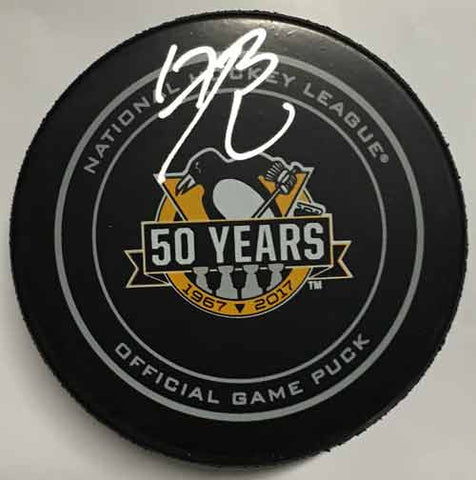 Bryan Rust Autographed 50th Anniversary Game Model Puck