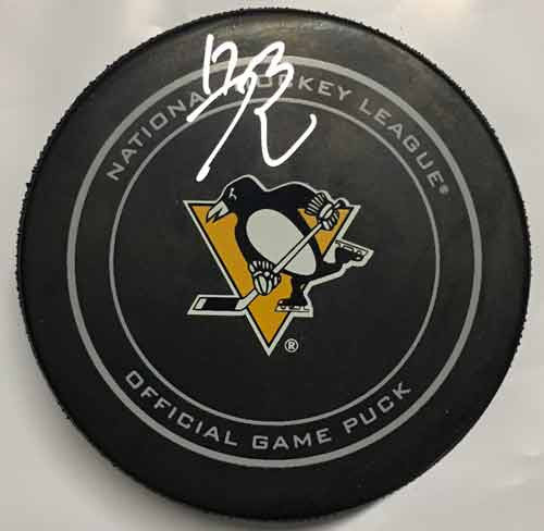 Bryan Rust Autographed Pittsburgh Penguins Game Model Puck