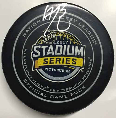 Bryan Rust Autographed 2017 Stadium Series Game Model Puck