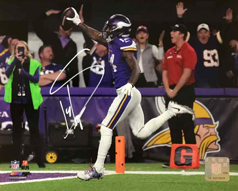 Stefon Diggs Autographed Running into End Zone 8x10 Photo