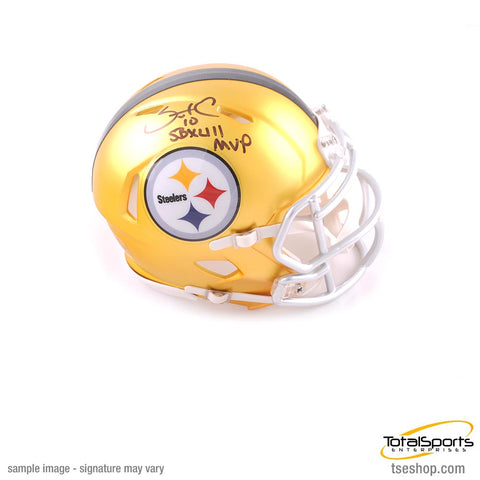 Santonio Holmes Autographed Pittsburgh Steelers BLAZE Mini Helmet - TSE Exclusive