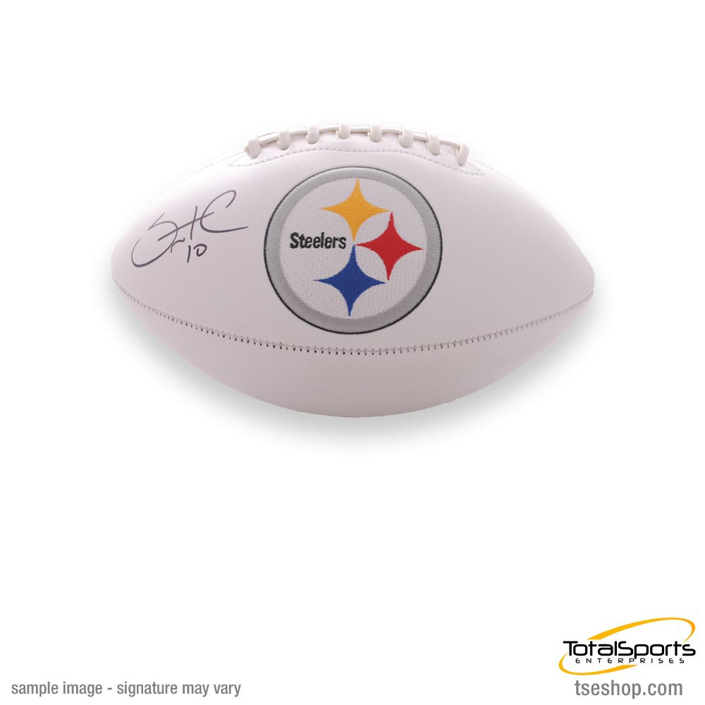 Santonio Holmes Autographed Pittsburgh Steelers White Logo Football