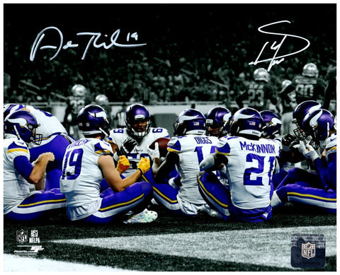 Stefon Diggs and Adam Thielen Autographed Vikings Teams TD Celebration Custom 8x10 Photo