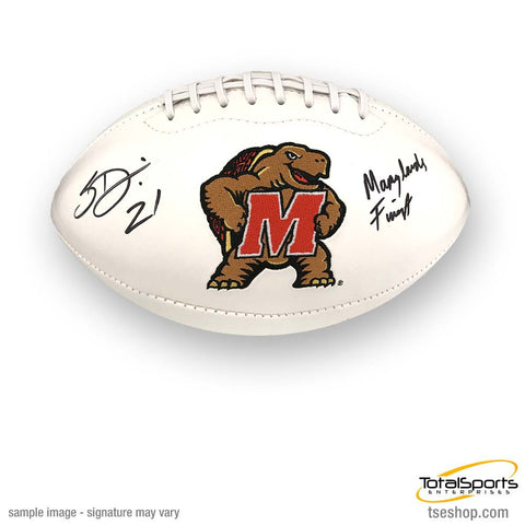 Sean Davis Signed Maryland White Logo Football with