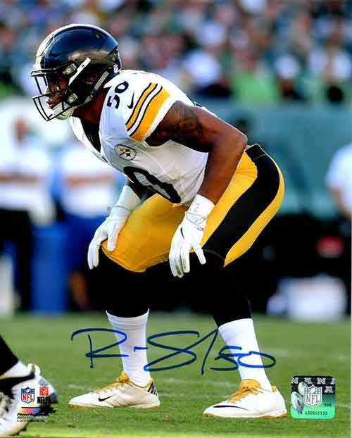 Ryan Shazier Autographed Ready Stance in White 16x20