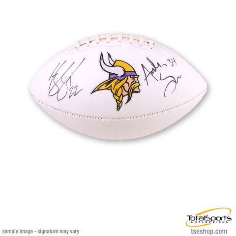 Andrew Sendejo and Harrison Smith Signed Minnesota Vikings White Logo Football