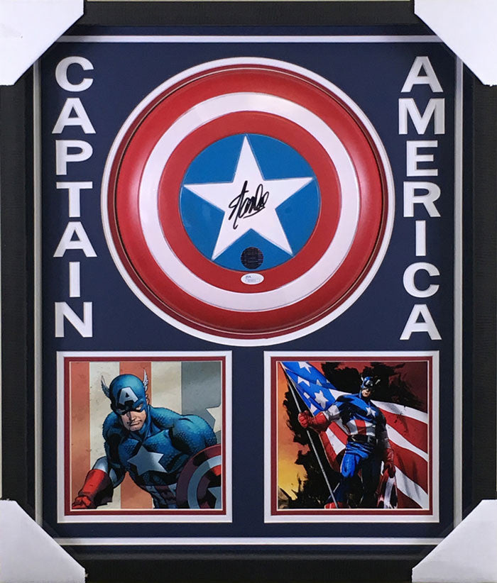 Stan Lee Signed Captain America Shield Shadowboxed (Cartoon)