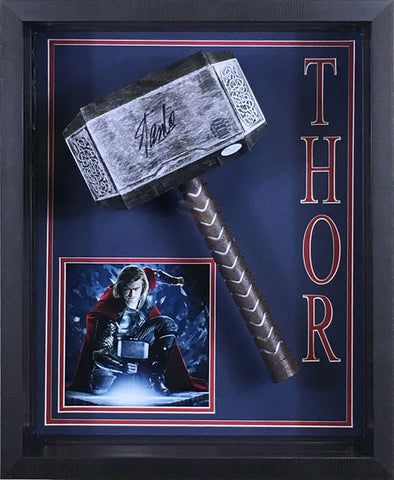 Stan Lee Signed Thor Hammer with Photo Shadowboxed