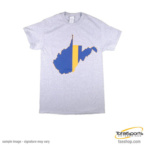 State of West Virginia with Blue and Old Gold Stripes