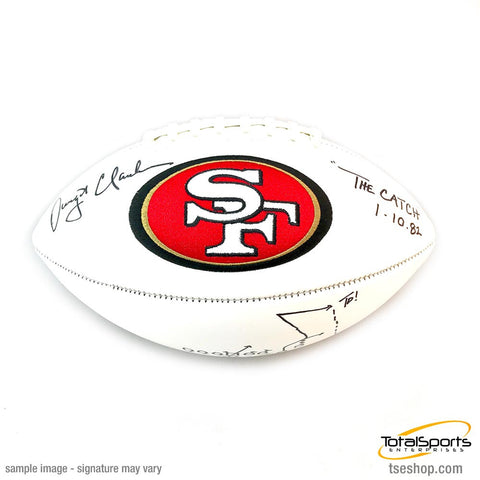 Dwight Clark Signed 49ers White Logo Football with