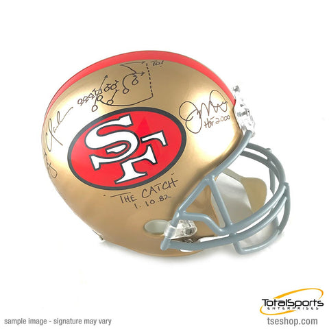 Joe Montana and Dwight Clark Signed 49ers Replica Helmet with