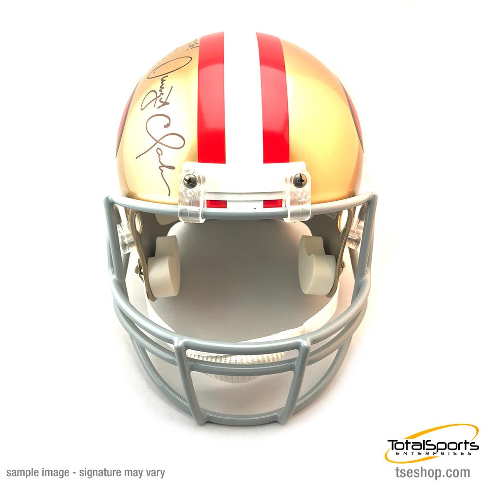 "Dwight Clark Signed 49ers Replica Helmet with ""The Catch"" Inscription"