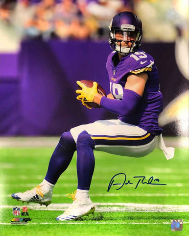 Adam Thielen Autographed with Football in Purple 16x20 Photo