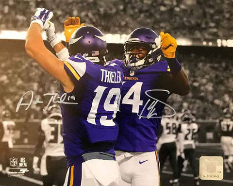 Stefon Diggs and Adam Thielen Autographed Custom Celebration 8x10 Photo