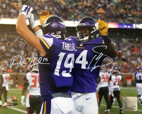 Stefon Diggs and Adam Thielen Autographed Celebration (Full Color) 8x10 Photo