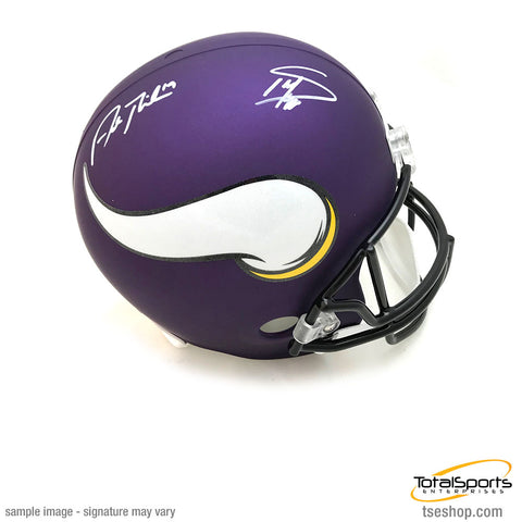 Stefon Diggs and Adam Thielen Signed Minnesota Vikings Full Size Replica Helmet