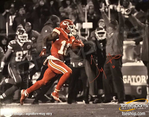 Tyreek Hill Signed Spotlight Running with Football 16x20 Photo
