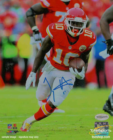Tyreek Hill Signed Running with Football 8x10 Photo
