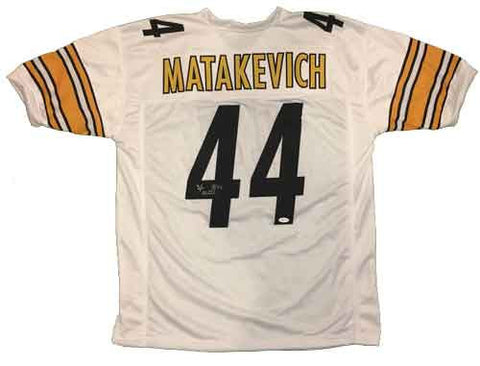 b8fa3fe2adf ... Tyler Matakevich Autographed Pittsburgh Steelers White Custom Jersey ...
