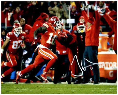 Tyreek Hill Signed Running in All Red Along Sidelines 8x10 Photo