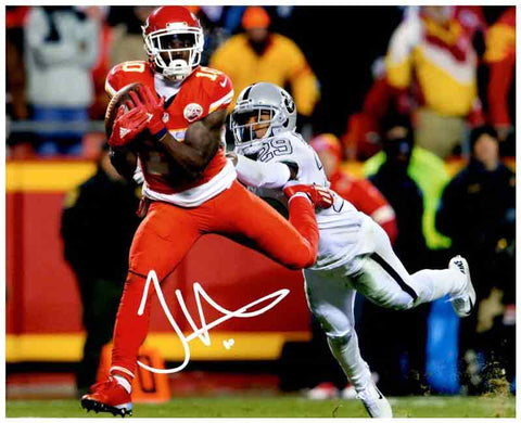 Tyreek Hill Signed Running with Football Vs. Raiders 8x10 Photo