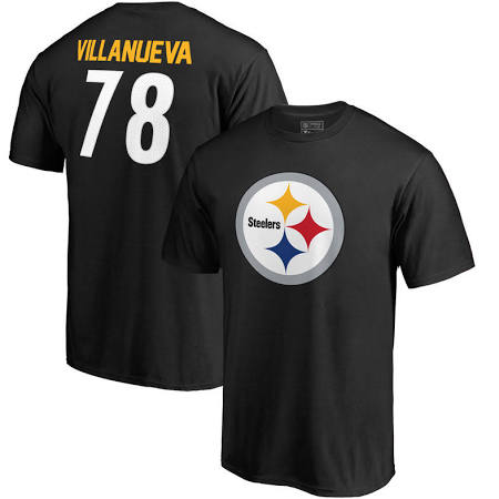 Black Steelers Logo Villanueva T-Shirt