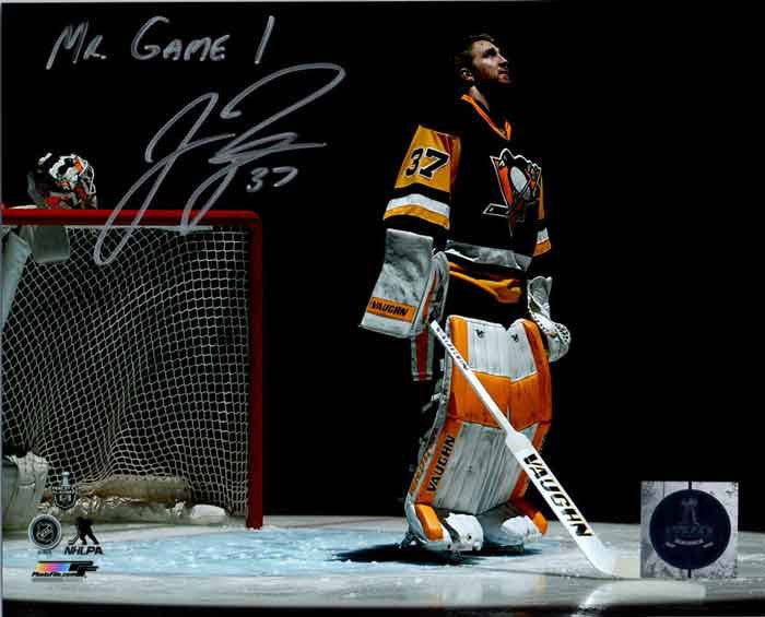 Jeff Zatkoff Autographed Pre-game with Mr Game 1 8x10