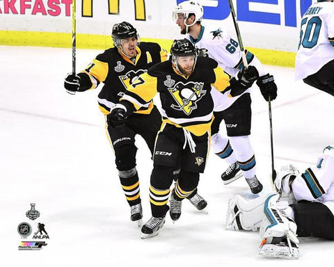 Bryan Rust Celebrating with Geno Unsigned 8x10 Photo